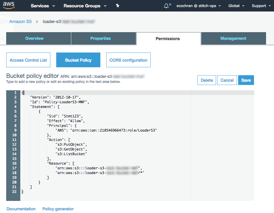 Adding an Amazon S3 bucket policy in the AWS console