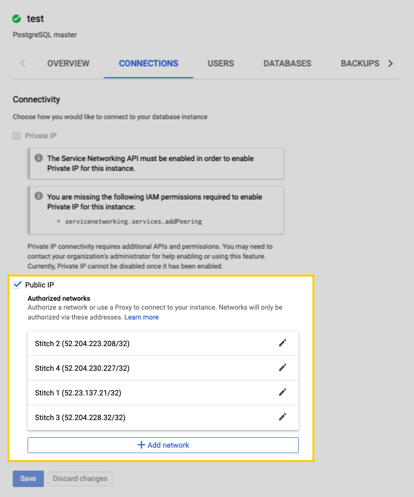 Authorized networks with Stitch IP addresses highlighted in the Google Cloud SQL database connections tab